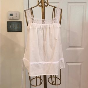 Tops - White tank top with lace detailing